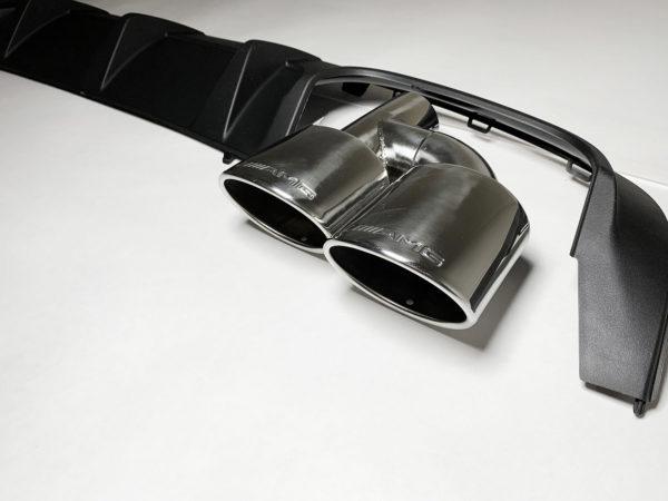 Диффузор заднего бампера и овальные насадки Мерседес c class w204